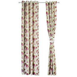 Set 2 draperii Heinner Home 140 x 270 cm, bumbac - Model flori roz