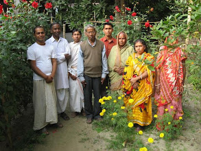 Photo: Flower garden attached to the Nat Mandir - The full staff of Phulbadina MahendraBandhu Angan with Bandhu Smaran Brahmachari