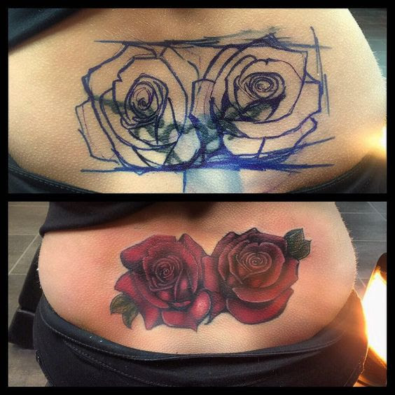 Rose Tattoo Cover Up: 60 Amazing Cover Up Tattoos Pictures Before And After You