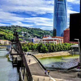 Bridge of Bilbao by Stephen Lang - City,  Street & Park  Street Scenes