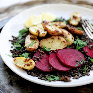 Vegan Lentil and Mustard-Roasted Potato Salad with Beets