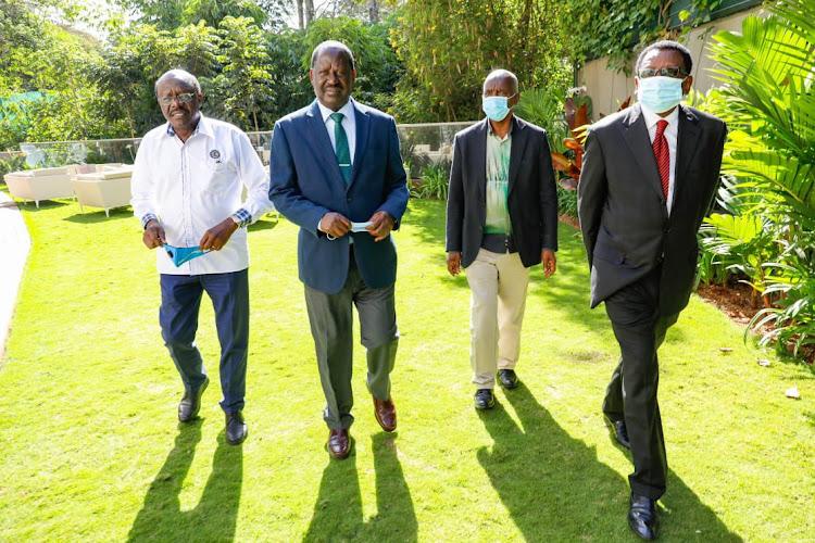 RAILA ODINGA  The opposition chief was accompanied by Makueni Governor Kivutha Kibwana alongside Siaya Senator James Orengo.
