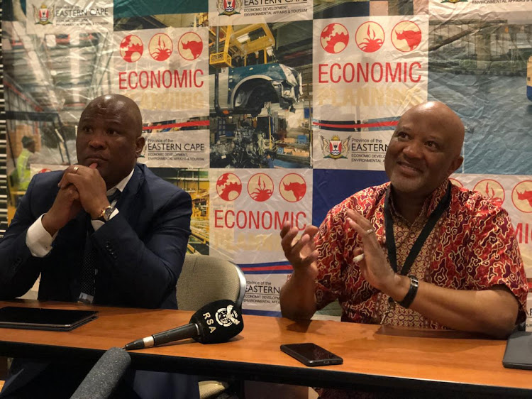 Eastern Cape finance MEC Oscar Mabuyane and former deputy finance minister Mcebisi Jonas at the provincial investment conference in East London