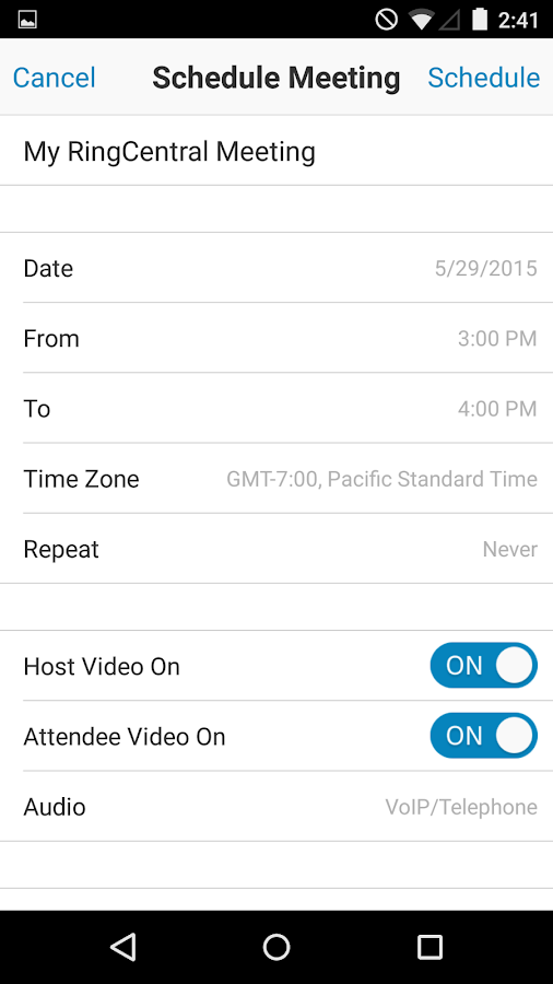 RingCentral Meetings - screenshot