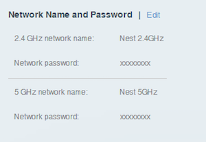 network names and passwords