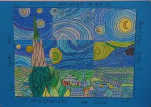 """Photo: Composición grupal Van Gogh """"La Nche estrellada"""" Alumnado 5º B"""