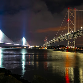 Bridges at night by Anne E Milne - Buildings & Architecture Bridges & Suspended Structures ( #water, #location, #photography, #night, #bridges )