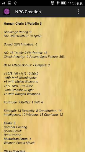DnD 3.5 NPC Generator 3.5 screenshots 7