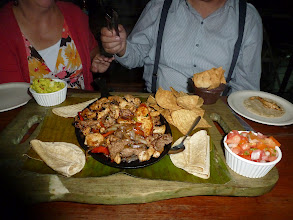 Photo: mmmm real Mexican-style fajitas after the assembly.  Look!  Ron can't wait to dig in