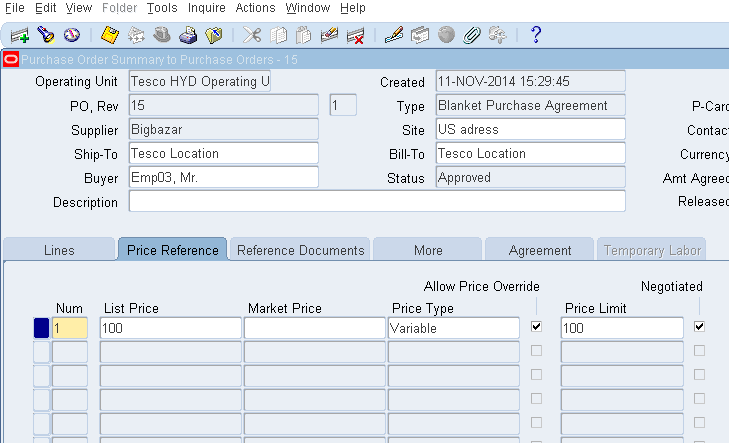 Blanket Purchase Agreement | Oracle Masterminds Bpa With Allow Price Override And Price Limit