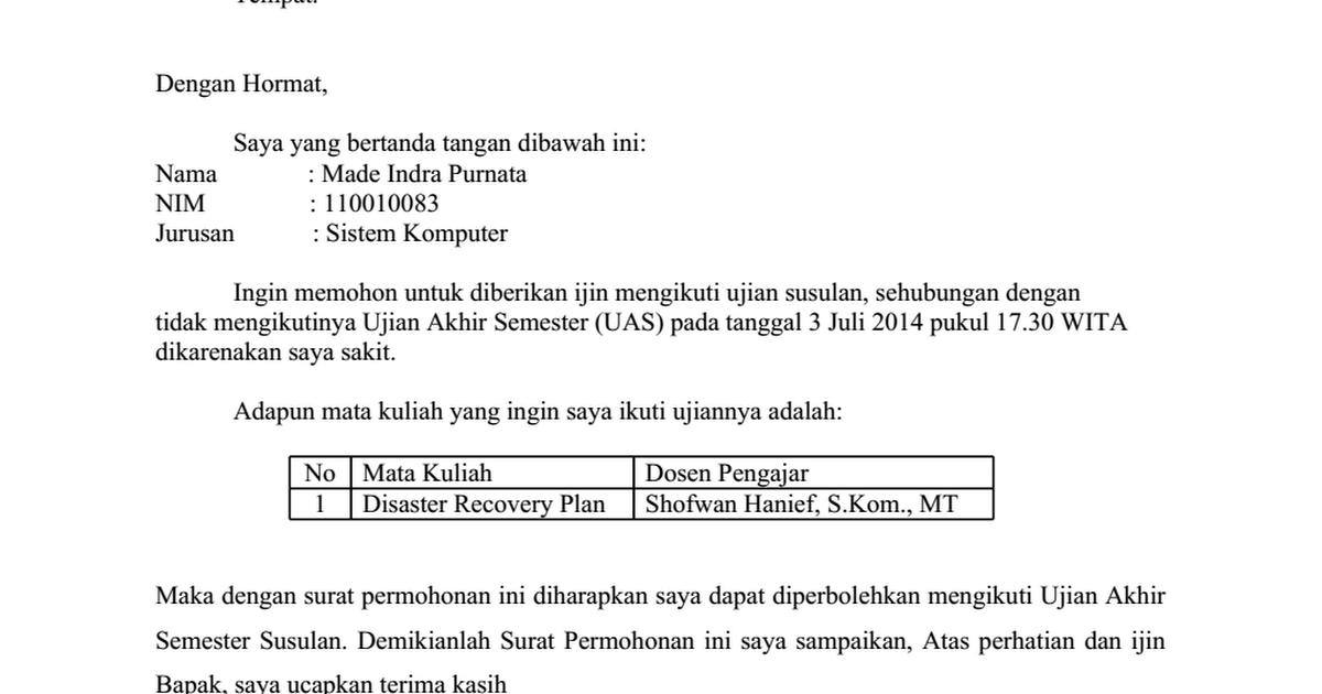 Contoh Surat Permohonan Ujian Susulan Docx Google Drive