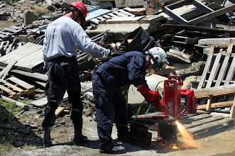 Photo: Rescue Personnel demonstrate steel cutting