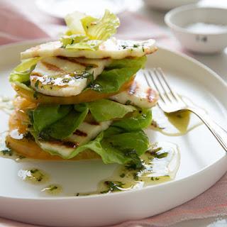 Grilled Halloumi and Tomato Salad with Lemon and Honey Vinaigrette.