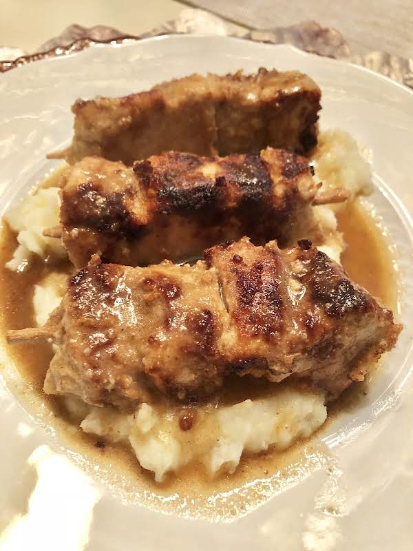 City Chicken Over Mashed Potatoes