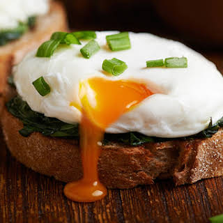 Poached Eggs with Wilted Spinach on Toast.