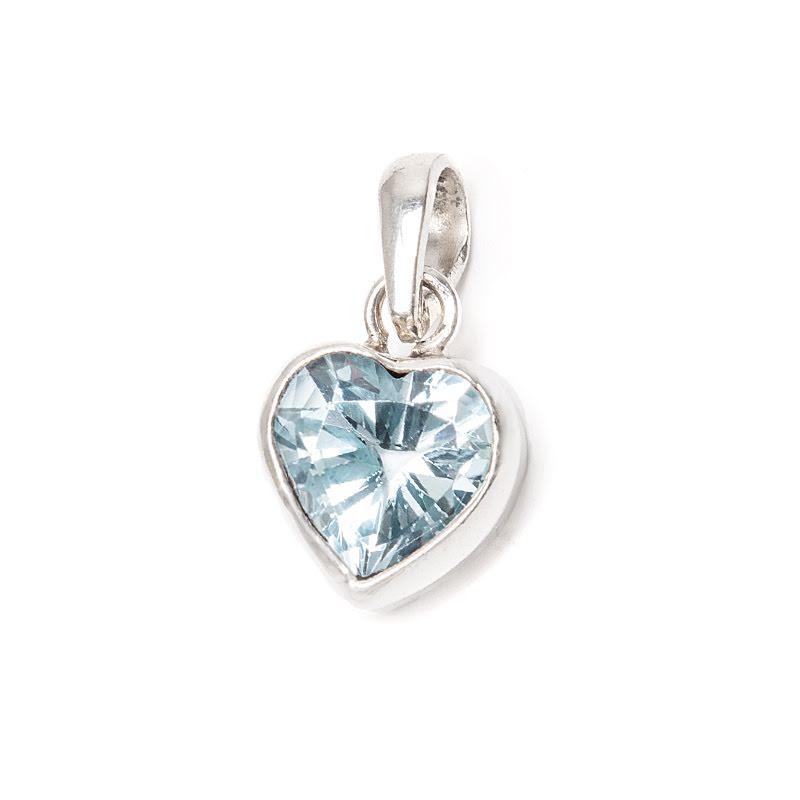 Blå topas hjärta i silver