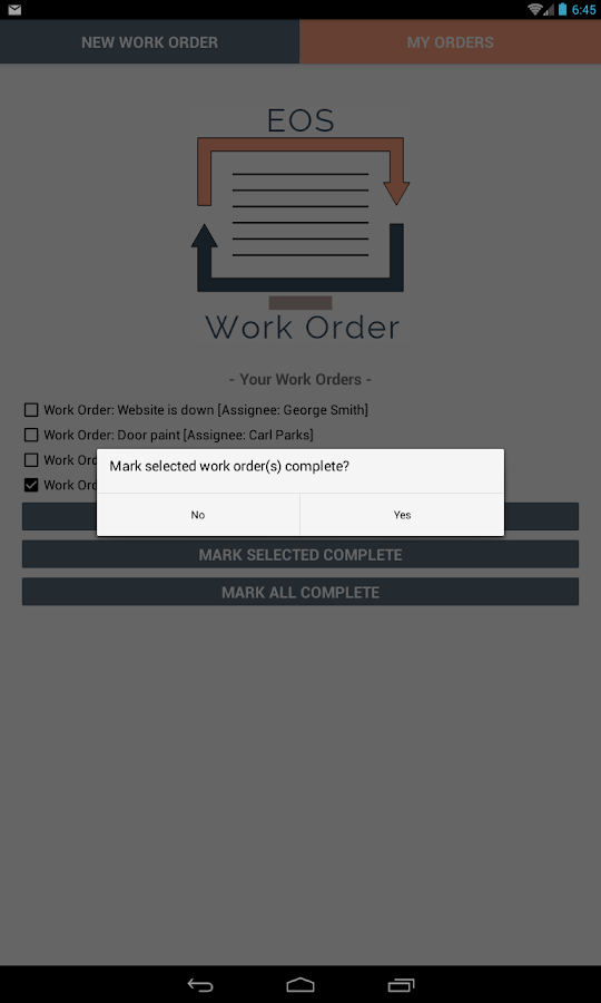 EOS Work Order- screenshot