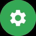 Ícono circular de color verde con una rueda de engranaje
