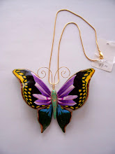 "Photo: Huge butterfly necklace. Butterfly size: 4.5"" x 3.5"". Gold plated chain 17"". $69.00"