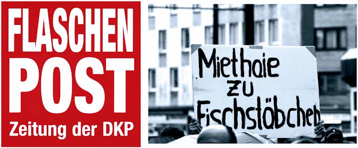 Collage: Flaschenpost-Logo links und Demobild «Miethaie zu Fischstäbchen» rechts.