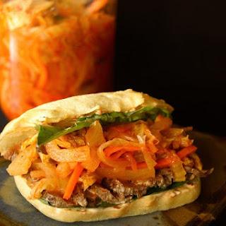 Grilled Sirloin Steak-Kimchi Sandwich Recipe with Ginger Chile Aioli