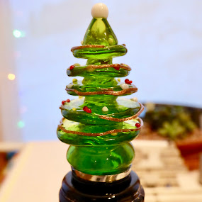 Christmas Night by Kerry Demandante - Artistic Objects Glass ( glass, green, christmas tree, festive, bottle, christmas, wine,  )
