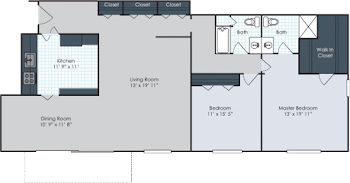 Go to Two Bedroom Garden Standard Floorplan page.