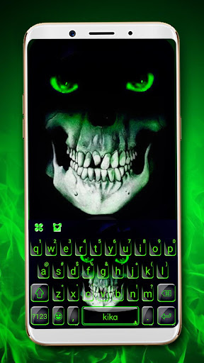 green horror devil keyboard -flaming skull screenshot 1