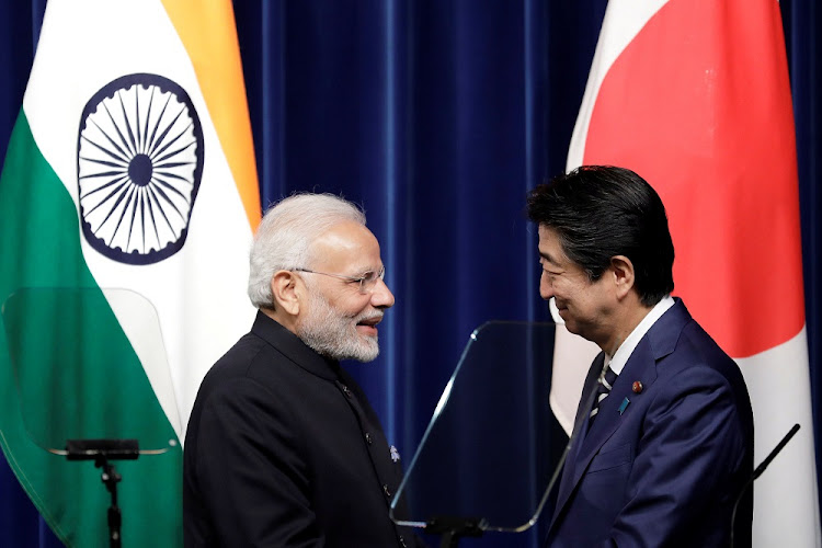 Indian Prime Minister Narendra Modi and Japan's Shinzo Abe wrap up a joint news conference in Tokyo, Japan, October 29 2018. Picture: REUTERS/KIYOSHI OTA