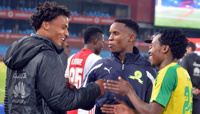 Rivaldo Coetzee, formerly with Ajax Cape Town, sharing a light moment with his now teammates at Mamelodi Sundowns Themba Zwane and Percy Tau.