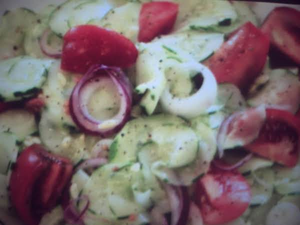 Cucumber And Tomato Salad With Celery Sauce
