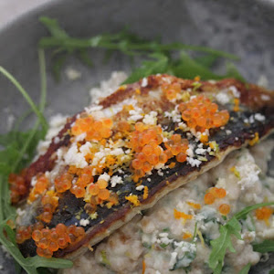 Grilled mackerel fillets spelled the cauliflower, trout eggs divine recipe of Frenchie