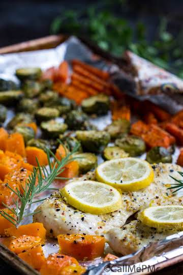 Flavorful Sheet Pan Roasted Chicken, Butternut Squash, Brussels, and Carrots » Call Me PMc