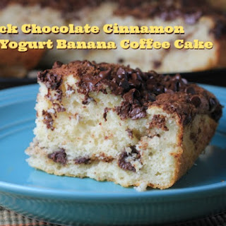 """Bisquick"" Chocolate Cinnamon Greek Yogurt Banana Coffee Cake"