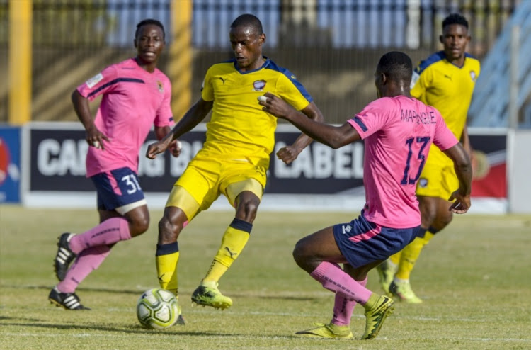 Ananias Gebhardt of Cosmos with possession during the National First Division Promotion and Relegation Playoff match between Jomo Cosmos and Black Leopards at Vosloorus Stadium on May 20, 2018 in Johannesburg, South Africa.