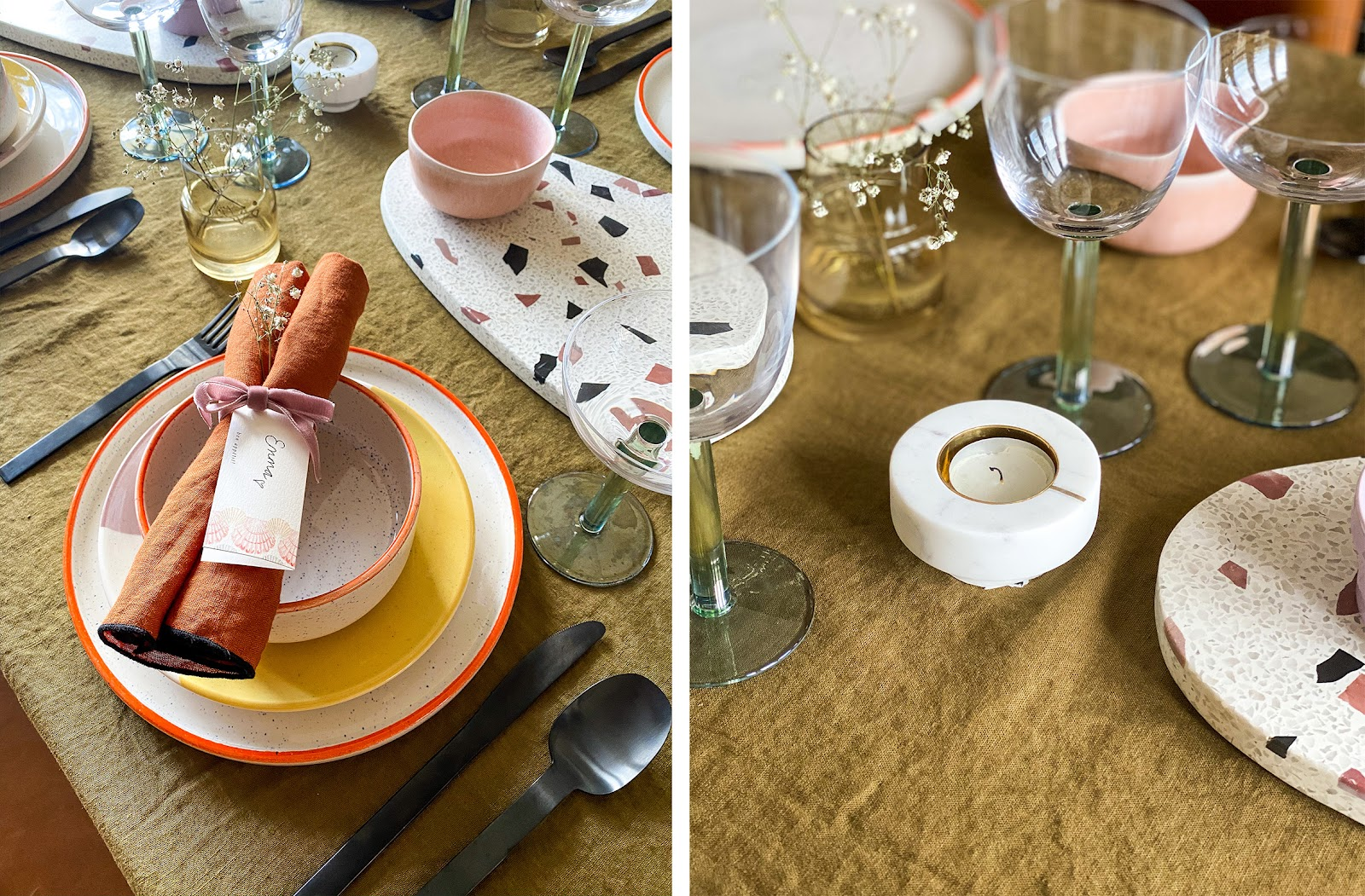 colourful table setting for entertaining at home