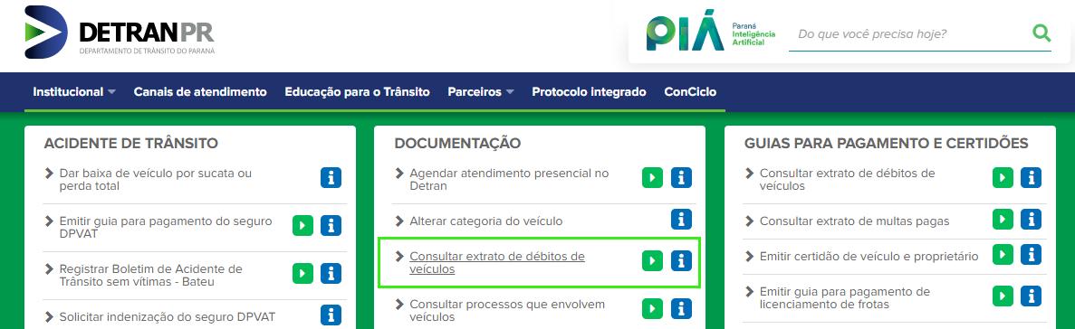 Clique em consulta de débitos do veículo