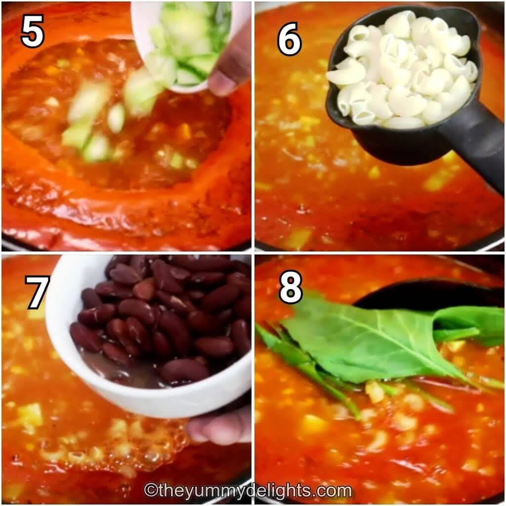 step by step image collage of addition of zucchini, macroni, red kidney beans & spinach.