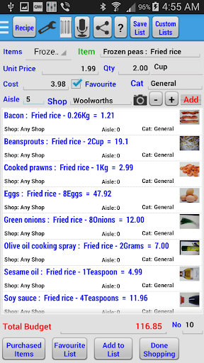 Recipe and Shopping List