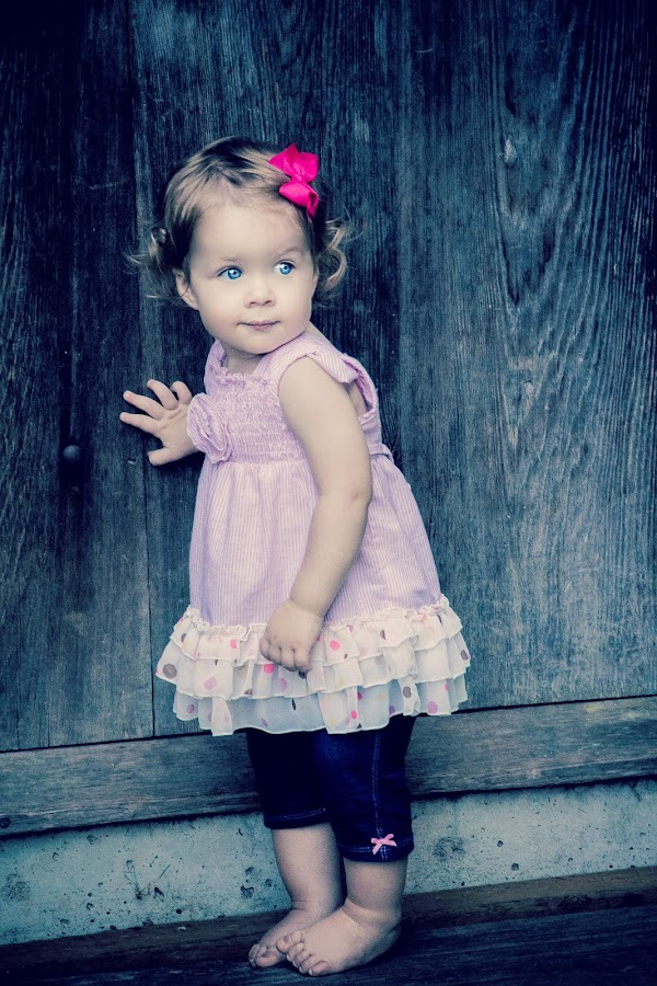 Knock Knock. Who's there? by Jenny Hammer - Babies & Children Children Candids ( child, girl, pink bow, door, toddler, cute )