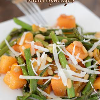 Oven Roasted Butternut Squash And Asparagus.