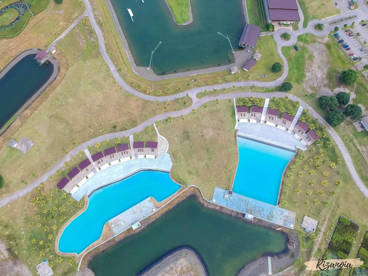 drone shot of swimming pool in Pradera Verde