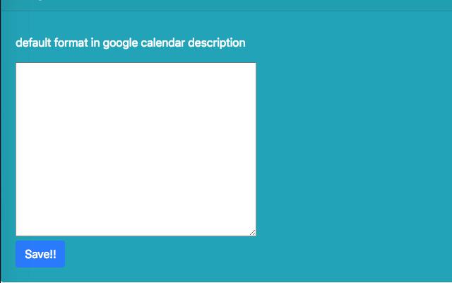 Google Calendar Description Format