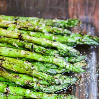 Grilled Asparagus with Balsamic Soy Butter Sauce.
