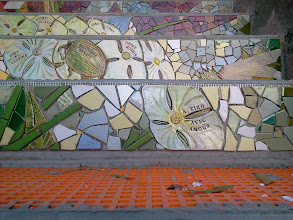 Photo: Detail of individual tiles on the third flight of steps (from bottom) of the Hidden Garden Steps (16th Avenue, between Kirkham and Lawton streets in San Francisco's Inner Sunset District) installed on November 4, 2013. KZ Tile workers are nearing completion of the 148-step ceramic-tile mosaic designed and created by project artists Aileen Barr and Colette Crutcher. For more information about this volunteer-driven community-based project supported by the San Francisco Parks Alliance, the San Francisco Department of Public Works Street Parks Program, and hundreds of individual donors, please visit our website at http://hiddengardensteps.org.