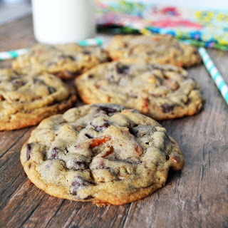 Salty Sweet Caramel Pretzel Cookies.