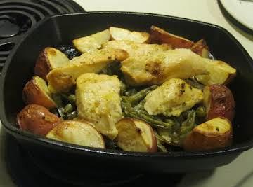 Roasted Chicken w/Lemon-Garlic Beans and Potatoes