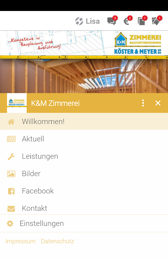 Köster & Meyer GmbH - Zimmerei- screenshot