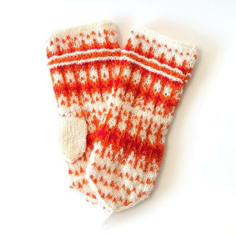 Hemstickade vantar - vit / orange /röd