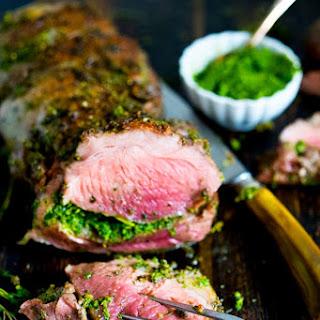 Herb Stuffed Leg of Lamb with Mint Gremolata